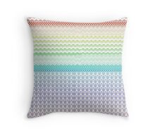 Aztec Tribal Rainbow Boho and Nordic Knit Vivid Throw Pillow