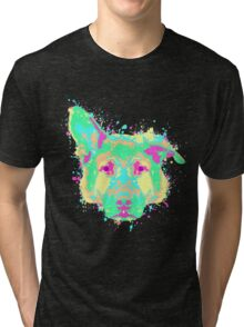 German Shepherd Pastel Splatter Tri-blend T-Shirt