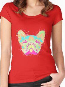 French Bulldog Pastel Splatter Women's Fitted Scoop T-Shirt