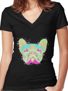 French Bulldog Pastel Splatter Women's Fitted V-Neck T-Shirt
