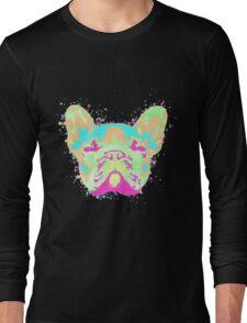 French Bulldog Pastel Splatter Long Sleeve T-Shirt