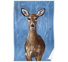 Deer Fawn on Blue, marbled painting Poster