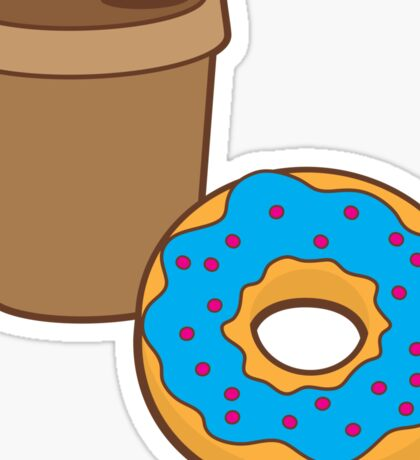 take away coffee cup and a donut (Doughnut) Sticker