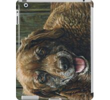 Old Smiling Chocolate Lab, painting iPad Case/Skin