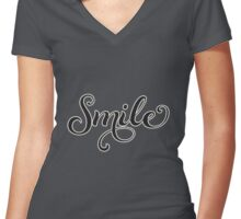Word Smile People  Women's Fitted V-Neck T-Shirt