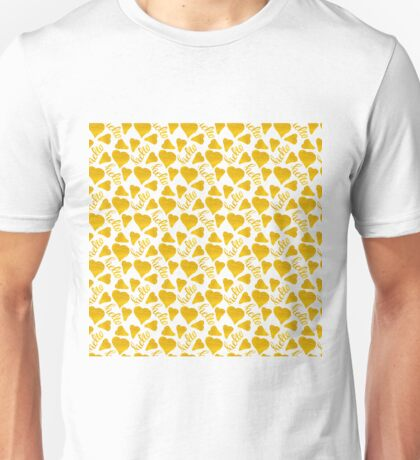 seamless pattern with gold,hand-drawn hearts and the description hello Unisex T-Shirt