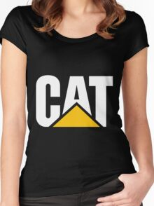 Caterpillar Logo White Women's Fitted Scoop T-Shirt