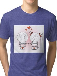 valentine's day illustration with boy and girl Tri-blend T-Shirt