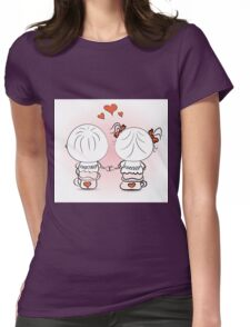 valentine's day illustration with boy and girl Womens Fitted T-Shirt