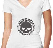 Harley Davidson Skull Women's Fitted V-Neck T-Shirt