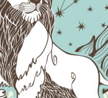 Leo zodiac sign.Vintage Horoscope Sticker