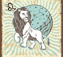 Leo zodiac sign.Vintage Horoscope by Tatiakost