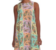 Multicolored Tribal Feathers on Four Colors A-Line Dress