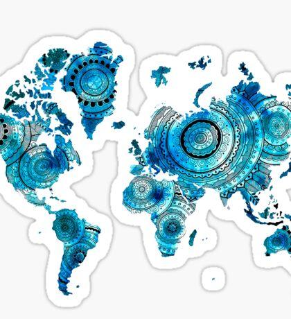 blue mandala world map Sticker