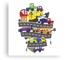 Child's hand draw cars.Funny Doodle Canvas Print