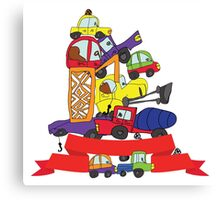 Child's hand draw cars. Funny Doodle composition Canvas Print