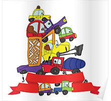 Child's hand draw cars. Funny Doodle composition Poster