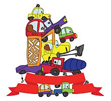 Child's hand draw cars. Funny Doodle composition Photographic Print