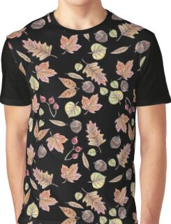 Autumn Leaves in Black Graphic T-Shirt