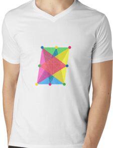 Crisscross Slanted Rectangle Mens V-Neck T-Shirt