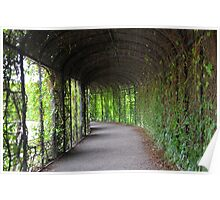 romantic garden walkway forming a tunnel of tree Poster