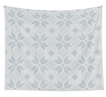 Vintage Blue Embroidery Pattern Wall Tapestry