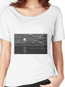 Super moon in monochrome shines over Long Reef Australia Women's Relaxed Fit T-Shirt