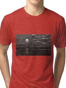 Super moon in monochrome shines over Long Reef Australia Tri-blend T-Shirt