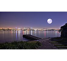 Full moon pre dawn over Sydney Harbour Bradleys Head Photographic Print