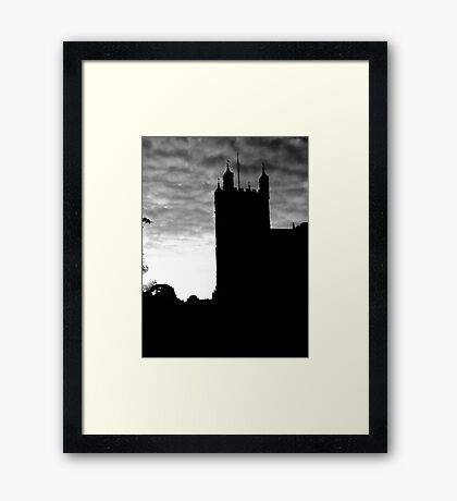 Black and White Photograph Of Exeter Cathedral Framed Print