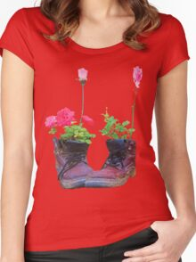 Old shoes with flowers Women's Fitted Scoop T-Shirt