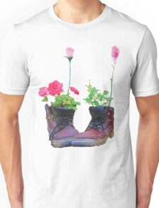 Old shoes with flowers Unisex T-Shirt