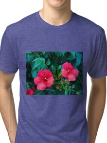Red flowers Tri-blend T-Shirt