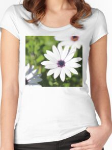 White Flower Upon Green Grass Women's Fitted Scoop T-Shirt