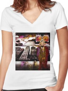 Corporate America  Women's Fitted V-Neck T-Shirt