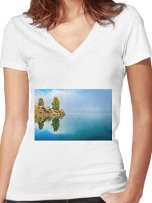 Pine Reflection Women's Fitted V-Neck T-Shirt