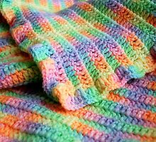 Multicolored Knitted Baby Blanket by nanettegomez
