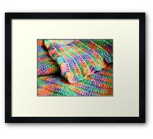 Multicolored Knitted Baby Blanket Framed Print