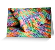 Multicolored Knitted Baby Blanket Greeting Card