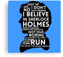 BBC Sherlock Holmes Quotes Canvas Print