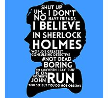 BBC Sherlock Holmes Quotes Photographic Print