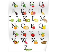 Educational Fruit and Vegetable Illustrated ABC Alphabet Poster