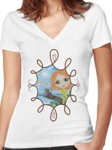 Oh, Such Happiness Women's Fitted V-Neck T-Shirt