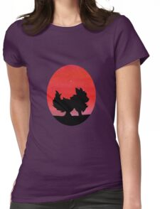 Flareon Sunset Silhouette Pokemon  Womens Fitted T-Shirt