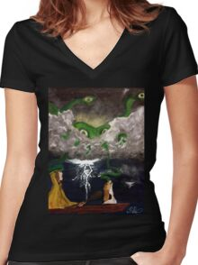 The Alien, the Dog, and Dingus X Women's Fitted V-Neck T-Shirt
