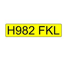 Jeremy Clarkson Falklands number plate Photographic Print