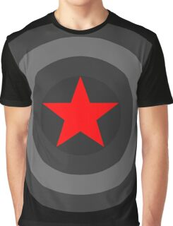 Black and White Shield With Red Star Graphic T-Shirt