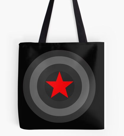 Black and White Shield With Red Star Tote Bag