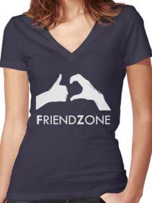 Friendzone (white text) Women's Fitted V-Neck T-Shirt