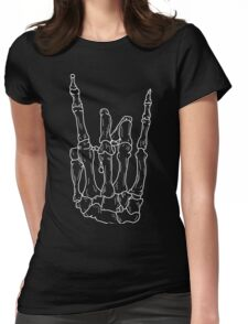 skull hand rock sign Womens Fitted T-Shirt